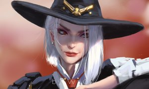 Rating: Safe Score: 120 Tags: armor ashe_(overwatch) close cowgirl hat overwatch realistic red_eyes short_hair tie watermark white_hair wlop User: otaku_emmy