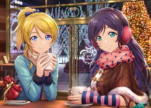 Rating: Safe Score: 69 Tags: 2girls ayase_eri bell blonde_hair blue_eyes blue_hair bow christmas drink green_eyes long_hair love_live!_school_idol_project ponytail scarf shamakho signed toujou_nozomi User: RyuZU