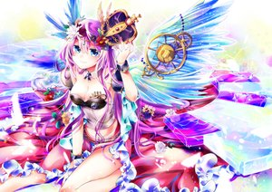 Rating: Safe Score: 34 Tags: blue_eyes breasts cleavage crown flowers long_hair megurine_luka natsuki_(summer_treee) pink_hair skirt vocaloid wings User: sadodere-chan