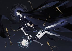 Rating: Safe Score: 33 Tags: ajimita black_hair boots bort diamond_(houseki_no_kuni) elbow_gloves gloves houseki_no_kuni katana long_hair short_hair shorts signed suit sword thighhighs tie weapon white_hair zettai_ryouiki User: otaku_emmy