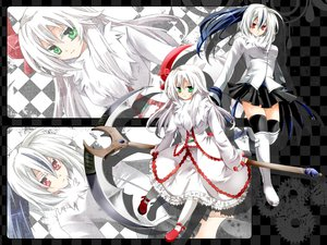 Rating: Safe Score: 110 Tags: absol anthropomorphism green_eyes pokemon red_eyes scythe weapon white_hair zettai_ryouiki User: Septentrion_P