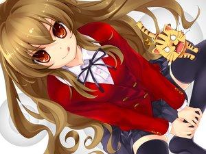 Rating: Safe Score: 60 Tags: aisaka_taiga animal brown_hair cat kuroya_shinobu long_hair misaki_kurehito red_eyes school_uniform skirt thighhighs toradora waifu2x User: luckyluna