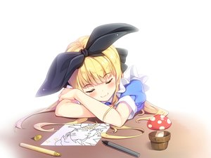 Rating: Safe Score: 52 Tags: blonde_hair cat_smile headband loli lolita_fashion long_hair moeki_yuuta mononobe_alice nijisanji paper sleeping white User: otaku_emmy