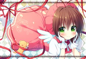 Rating: Safe Score: 34 Tags: blush brown_hair card_captor_sakura dress green_eyes kero kinomoto_sakura natsuka_(unagi-unagi-unagi) ribbons short_hair wings User: RyuZU