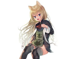 Rating: Safe Score: 65 Tags: animal_ears blonde_hair blue_eyes blush boots catgirl cat_smile dress long_hair midorikawa_you original thighhighs white zettai_ryouiki User: otaku_emmy