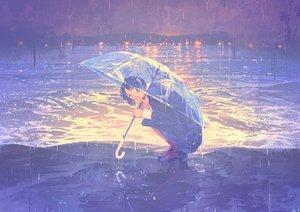 Rating: Safe Score: 61 Tags: blue_eyes blue_hair gemi original school_uniform short_hair skirt umbrella water User: RyuZU