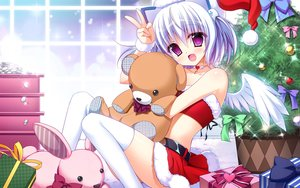 Rating: Safe Score: 81 Tags: 1000-chan aliasing bow bunny choker christmas headband headdress heart nanaca_mai necklace oizumi purple_eyes santa_costume teddy_bear thighhighs tree twintails white_hair wings User: mattiasc02