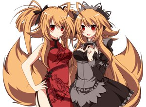 Rating: Safe Score: 115 Tags: 2girls blonde_hair chinese_clothes chinese_dress dress foxgirl long_hair maid original red_eyes ribbons syno tail twins User: HawthorneKitty