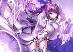 Rating: Safe Score: 116 Tags: armor breasts dress fate/grand_order fate_(series) headdress heirou long_hair magic ponytail purple purple_hair red_eyes scathach_(fate/grand_order) thighhighs wand zettai_ryouiki User: otaku_emmy