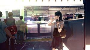 Rating: Safe Score: 49 Tags: black_hair bow headphones long_hair maeda_mic male original school_uniform train User: BattlequeenYume