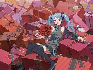 Rating: Safe Score: 10 Tags: esukee flowers hatsune_miku rose valentine vocaloid User: HawthorneKitty