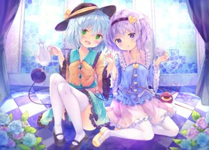 Rating: Safe Score: 33 Tags: 2girls blue_hair blush flowers green_eyes kinokomushi komeiji_koishi komeiji_satori pantyhose purple_eyes purple_hair rose short_hair skirt thighhighs touhou User: luckyluna