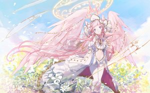 Rating: Safe Score: 55 Tags: blue_eyes clouds dress flowers halo hoshi_rousoku long_hair merc_storia navel pink_hair sketch sky tagme_(character) wings User: BattlequeenYume