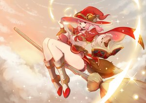Rating: Safe Score: 33 Tags: animal_ears book boots cape clouds corset dress handesu hat long_hair original pink_hair red_eyes sky sunset tail witch witch_hat wolfgirl User: otaku_emmy