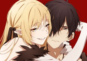 Rating: Safe Score: 84 Tags: araragi_koyomi blonde_hair brown_eyes brown_hair close elbow_gloves gloves hug kissshot_acerolaorion_heartunderblade kizumonogatari long_hair male monogatari_(series) ntend orange_eyes oshino_shinobu pointed_ears red ribbons User: otaku_emmy