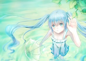 Rating: Safe Score: 29 Tags: hatsune_miku leaves long_hair mimengfeixue summer_dress twintails umbrella vocaloid water User: Flandre93