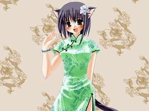 Rating: Safe Score: 12 Tags: animal_ears blush catgirl chinese_clothes chinese_dress tagme tail User: Oyashiro-sama