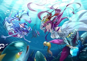 Rating: Safe Score: 37 Tags: animal fish headdress long_hair neko_eel plesios_(p&d) purple_hair puzzle_&_dragons siren_(p&d) underwater undine_(p&d) water User: FormX