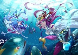 Rating: Safe Score: 37 Tags: animal fish headdress long_hair neko_eel plesios_(p&d) purple_hair puzzle_&_dragons siren_(p&d) underwater undine_(p&d) water User: FormX