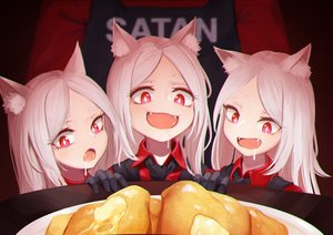 Rating: Safe Score: 61 Tags: animal_ears cat_smile cerberus_(helltaker) daydream_(zhdkffk21) doggirl fang food gloves group helltaker long_hair red_eyes suit tie uniform white_hair User: Dreista