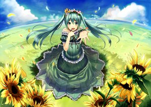 Rating: Safe Score: 62 Tags: clouds dress flowers green_eyes green_hair hatsune_miku ichiko_oharu petals ribbons sky sunflower twintails vocaloid User: mikulover