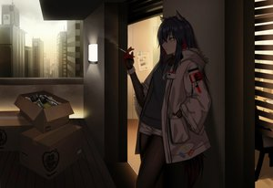 Rating: Safe Score: 47 Tags: animal_ears arknights black_hair brown_eyes building cero_(last2stage) cigarette city dark hoodie long_hair necklace pantyhose paper shorts smoking texas_(arknights) User: RyuZU