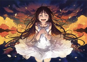 Rating: Safe Score: 51 Tags: brown_eyes brown_hair clouds crying dress long_hair morino_hon petals reflection scan sky stars summer_dress tears water User: RyuZU