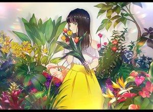 Rating: Safe Score: 46 Tags: black_hair dress flowers green_eyes kusaka_kou long_hair original User: FormX