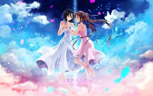 Rating: Safe Score: 117 Tags: 2girls barefoot black_hair brown_hair clouds dress original petals ribbons shoujo_ai tagme twintails wox User: Zolxys
