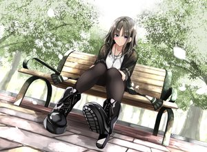 Rating: Safe Score: 90 Tags: blue_eyes boots brown_hair fuu_(fuore) necklace original pantyhose park tree User: BattlequeenYume
