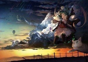 Rating: Safe Score: 41 Tags: airship animal bird cat clouds hatsune_miku scenic skirt sky stars sunset thighhighs toriumi_harumi twintails vocaloid zettai_ryouiki User: RyuZU