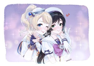 Rating: Safe Score: 24 Tags: 2girls ayase_eri black_hair blonde_hair blue_eyes gloves green_eyes long_hair love_live!_school_idol_project ponytail toujou_nozomi wink zawawa_(satoukibi1108) User: FormX