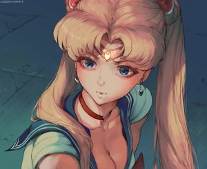 Rating: Safe Score: 52 Tags: blonde_hair blue_eyes breasts choker cleavage close cutesexyrobutts headband long_hair parody sailor_moon sailor_moon_(character) school_uniform signed sketch tsukino_usagi twintails User: otaku_emmy
