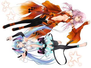 Rating: Safe Score: 159 Tags: 2girls aqua_eyes barefoot cleavage dan_(killaflip) elbow_gloves guilty_crown hatsune_miku long_hair miku_append navel pink_hair red_eyes thighhighs twintails vocaloid white yuzuriha_inori User: opai