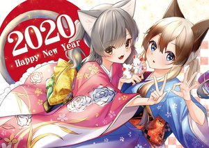 Rating: Safe Score: 30 Tags: 2girls animal blue_eyes blush brown_hair catgirl cat_smile fang gray_hair japanese_clothes kimono long_hair mouse original rukinya tail twintails yellow_eyes User: BattlequeenYume