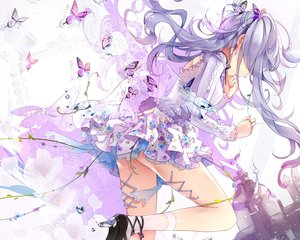 Rating: Safe Score: 204 Tags: butterfly hatsune_miku long_hair purple_hair skirt socks tukino_(panna) twintails vocaloid User: Wiresetc