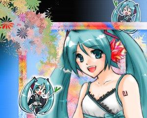 Rating: Safe Score: 6 Tags: chibi green_hair hatsune_miku japanese_clothes lolita_fashion twintails vocaloid yukata User: bakabakashii