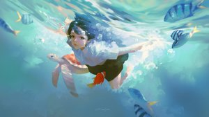 Rating: Safe Score: 33 Tags: animal black_hair fish g-tz long_hair original realistic signed underwater water User: BattlequeenYume