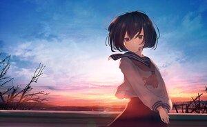 Rating: Safe Score: 49 Tags: black_hair blush brown_eyes clouds mifuru original school_uniform skirt sky sunset User: BattlequeenYume