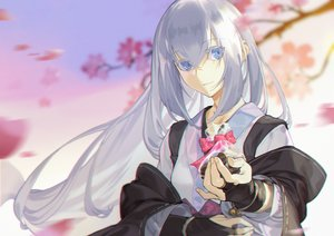 Rating: Safe Score: 34 Tags: blue_eyes candy cherry_blossoms chocolate flowers gloves gray_hair japanese_clothes li_chunfu long_hair original valentine User: Dreista