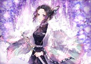 Rating: Safe Score: 51 Tags: black_hair flowers japanese_clothes katana kimetsu_no_yaiba kity1211_tetsu kochou_shinobu signed sword weapon User: BattlequeenYume