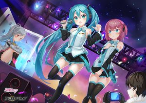 Rating: Safe Score: 38 Tags: 2drr aqua_eyes aqua_hair black_hair blush boots closers cosplay crossover game_console gray_hair hatsune_miku headphones kneehighs lee_seha lee_seulbi logo long_hair male microphone pink_hair ponytail short_hair skirt tattoo thighhighs tie tina_(closers) twintails vocaloid User: RyuZU