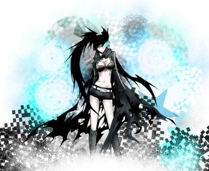 Rating: Safe Score: 136 Tags: bikini_top black_hair black_rock_shooter blue_eyes boots fire healtz kuroi_mato scar shorts twintails User: STORM