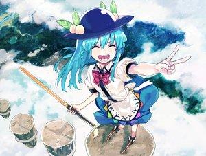 Rating: Safe Score: 51 Tags: aqua_hair blush boots bow clouds food fruit hat hinanawi_tenshi long_hair subachi sword touhou weapon User: Flandre93