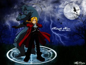 Rating: Safe Score: 11 Tags: all_male alphonse_elric animal armor bird blonde_hair boots braids cross edward_elric fullmetal_alchemist grass magic male moon orange_eyes ponytail watermark User: Oyashiro-sama