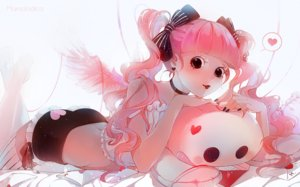 Rating: Safe Score: 20 Tags: ass black_eyes bow choker long_hair marmalade_(elfless_vanilla) one_piece perona pink_hair ribbons shorts thighhighs twintails watermark wings User: BattlequeenYume