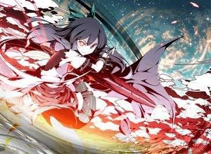 Rating: Safe Score: 85 Tags: asakura_masatoki black_hair cape long_hair red_eyes reiuji_utsuho ribbons skirt stars touhou weapon yellow_eyes User: Tensa