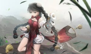 Rating: Safe Score: 128 Tags: armor black_hair braids breasts chinese_clothes chinese_dress cleavage gray_eyes kikivi leaves original sideboob twintails User: Flandre93