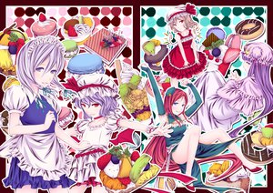 Rating: Safe Score: 15 Tags: ayasaka blue_eyes dress flandre_scarlet food fruit group hat hong_meiling izayoi_sakuya long_hair maid patchouli_knowledge purple_eyes purple_hair red_eyes red_hair remilia_scarlet ribbons short_hair touhou vampire white_hair wings User: Tensa