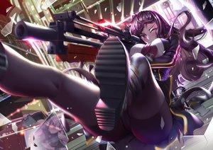 Rating: Safe Score: 52 Tags: anthropomorphism breasts girls_frontline gun hasaya long_hair pantyhose purple_hair red_eyes wa2000_(girls_frontline) weapon wink User: BattlequeenYume
